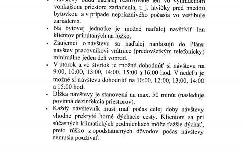 Pravidlá návštev v zariadení platné od 06.07.2020