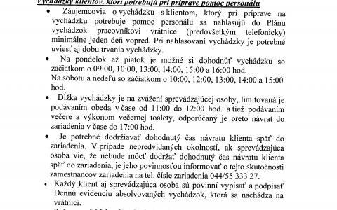 Pravidlá vychádzok zo zariadenia platné od 06.07.2020